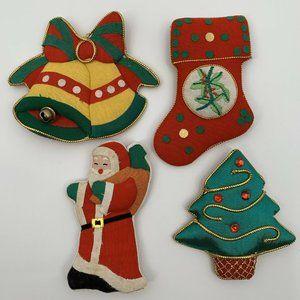 Vintage Fabric Christmas Magnets - Set of 4